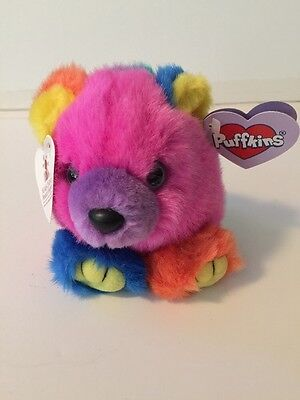 "Puffkins By Swibco Stuffed Plush Animal ""Cosmo"" Bear NEW WITH TAGS COLORFUL 4''"