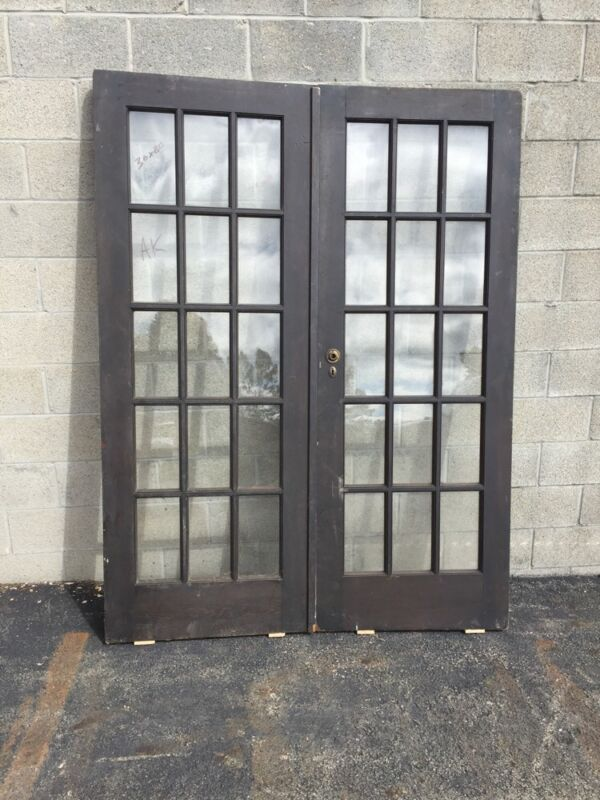"Cm 18 One Pair Antique French Doors Pine 60"" X 79.5"""