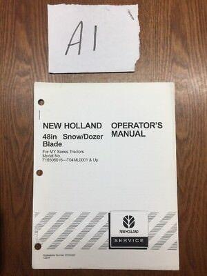2004 New Holland 48 In Snowdozer Blade 716506016 Operators Manual