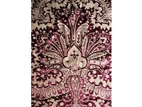 FABRIC - BUNDLE of BURGUNDY & WINE COLOURED MATERIAL, various fabrics. COLLECTION ONLY