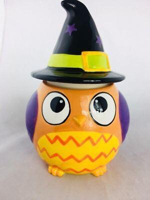 Cheryl's & Co Cookies Jar Orange Owl Witch Hat Halloween 11