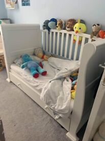 White sleigh cot bed, changing unit and wardrobe