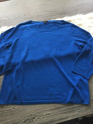 J Crew Womens M Linen Top Blue Long Sleeve Light Sweater Knit