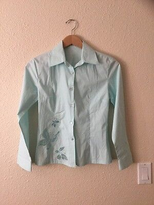 ❤️RED LEAF LIGHT BLUE BUTTERFLY BUTTON UP BLOUSE LRG