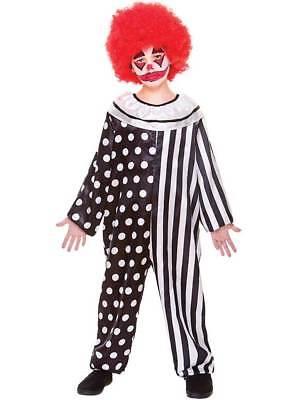 Kids Kreepy Klown Jumpsuit Fancy Dress Costume Halloween Creepy Clown Child New