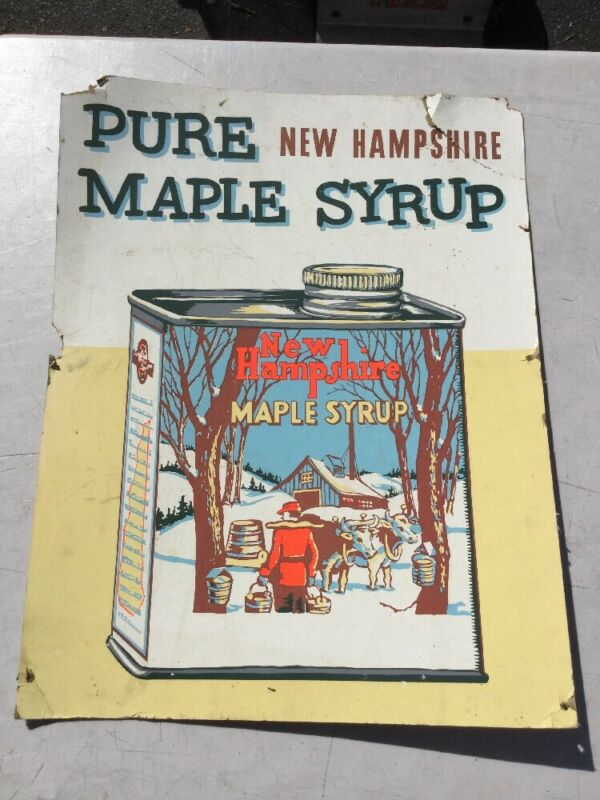 Antique Hand Painted Gouache Advertising Sign Pure Maple Syrup New Hampshire