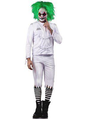 Psych Ward Costume (Psych Ward Clown Costume & Green Wig Men's Adult Halloween Psycho Joker)