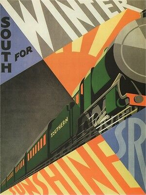 4141.Southern railways.south for winter sunshine.POSTER.Home School art - Winter School Decorations