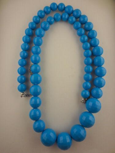 "Vintage Style Faceted Aqua-Blue Lucite Graduated Bead Necklace 33"" Long"