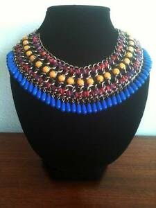 ZARA Beaded Ethnic Boho Statement Collar Necklace Blue Yellow Red Bexley Rockdale Area Preview