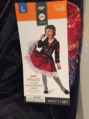 NWT Girls Youth Pirate Halloween Costume Large 10/12 Dress & Jacket (Youth Pirate Costume)