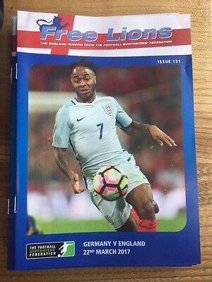 FREE LIONS GERMANY v ENGLAND FOOTBALL PROGRAMME 22nd MARCH 2017 ISSUE 151