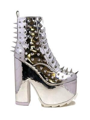 Spikes Chrome Heel Shoes (YRU Night Terror Chrome Silver Spiked Goth Punk Vegan Platforms Shoe Boots Heels )