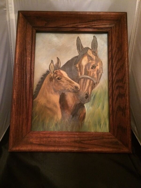 "Vintage Original Oil Painting on Artist Board ""Mom & Foal Horse"" Signed, Framed"