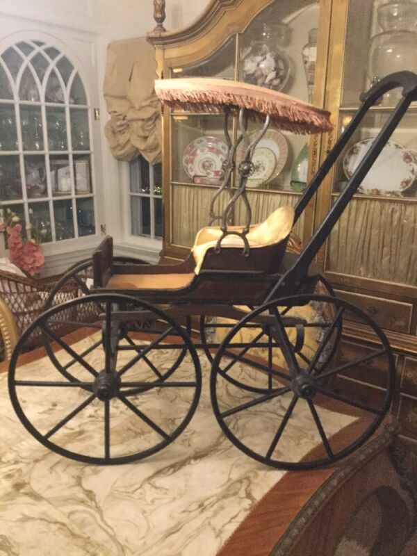 19 Century Elaborate Doll Carriage Joel Ellis Type