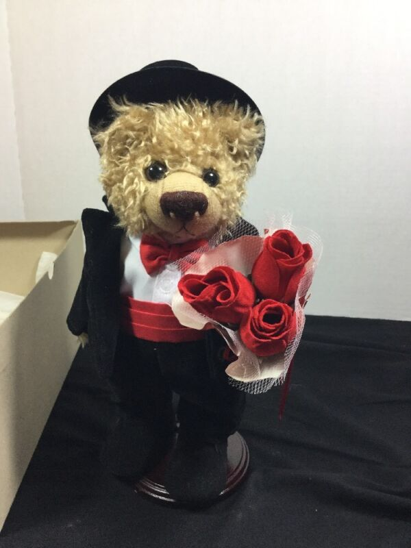 Happy Valentines Bear Holding Three Red Roses W Display Stand