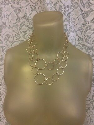 """19"""" Gold-Tone Hammered Circles 2 Layer Chain Necklace"""