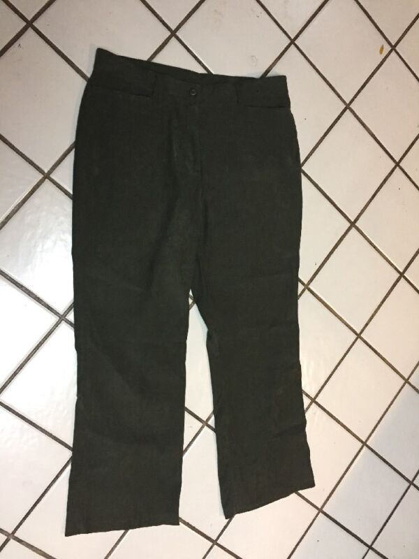 Coldwater Creek faux suede Front Zip Career Casual Pants Sz 14 Olive Green