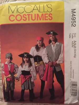 McCall's M4952 Family Pirate Costume Pattern Sz S-XL New and uncut Halloween - Pirate Family Costumes