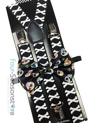 Halloween Bow Ties (Halloween Novelty Day of the Dead Bow Tie And Suspender Matching Set Tuxedo)