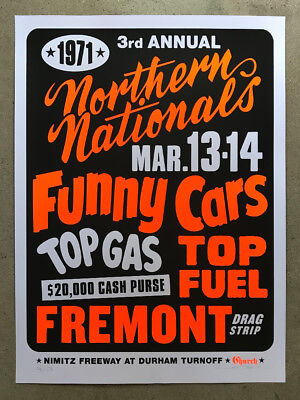 Drag Nhra Racing - Fremont Drag Strip Poster NHRA Vintage 24x32 Top Fuel Funny Car race racing
