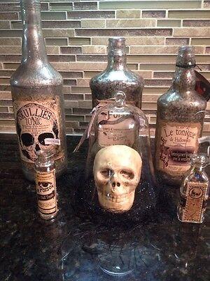 Bethany Lowe Halloween Skull In A Glass Cloche--Retired 2015