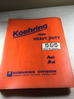 Bantam Koehring 505 Scooper Parts Catalog Manual