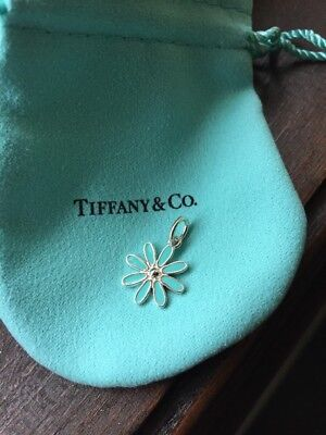 Tiffany & Co. Sterling Silver AG 925 Blue Enamel Daisy Flower Charm with Pouch ()