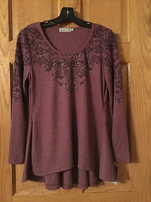 UNITY Embellished Thermal Hourglass Long Sleeve Top Size S Mulberry NWT - Unity Hourglass