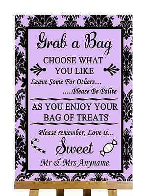 Lavender Candy Buffet (Lilac Black Damask Candy Buffet Sweet Cart Poem Personalised Wedding)