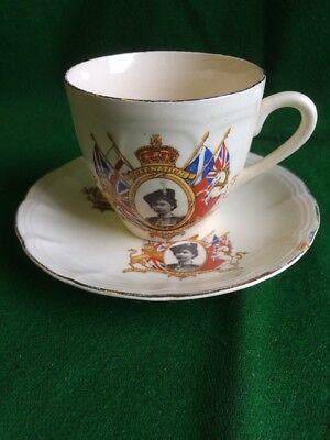Royal Art Pottery Coronation Cup And Saucer 1953 Wf