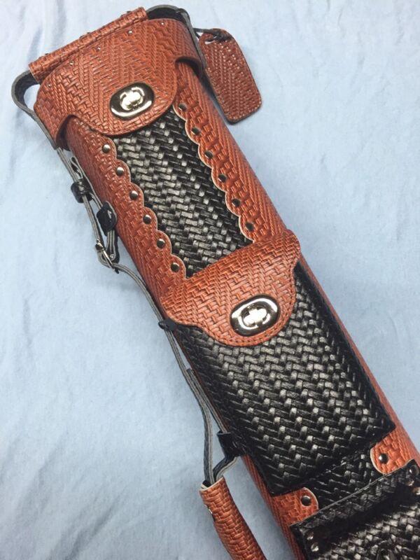 Vincitore Genuine Leather Black & Brown Basket Weave Design 3 Butt 5 Shaft 3x5