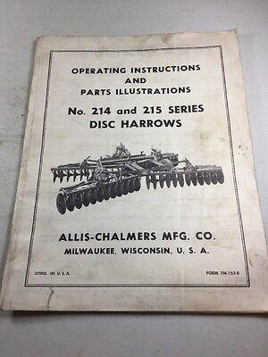 Allis Chalmers No. 214 215 Disc Harrow Operators Manual Parts Illustrations