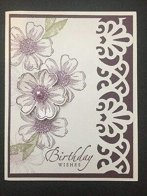 "Stampin Up Card Kit Set Of 4 ""Birthday Wishes"" Lace Cut Frame In Eggplant Color"