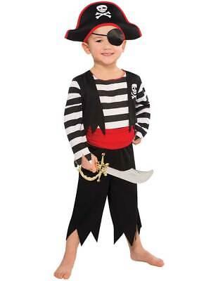 Kids Pirate Costume Toddler Deckhand Captain Hook Fancy Dress Boys Girls Outfit