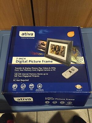 "Ativa 7"" Black Digital Photo Frame w/ Remote Frame Stand 128MB NEW 561-410"