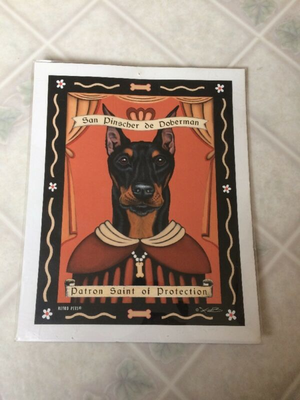 Doberman Dog Retro Pets 8 X 10 Print Krista Brooks Patron Saint of Protection