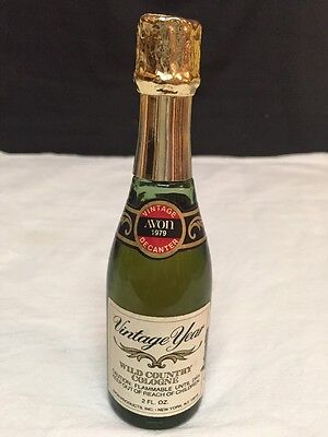 """Vintage Avon Wild Country Cologne Champagne Bottle Decanter 6"""" Tall"""