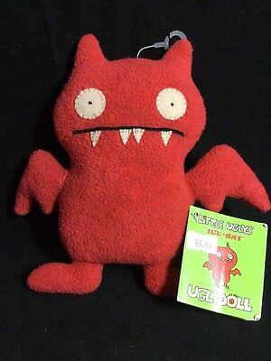 """Uglydoll Little Ugly ICE BAT 7"""" RARE Dark Orange Plush Toy Doll 2002 NWT"""