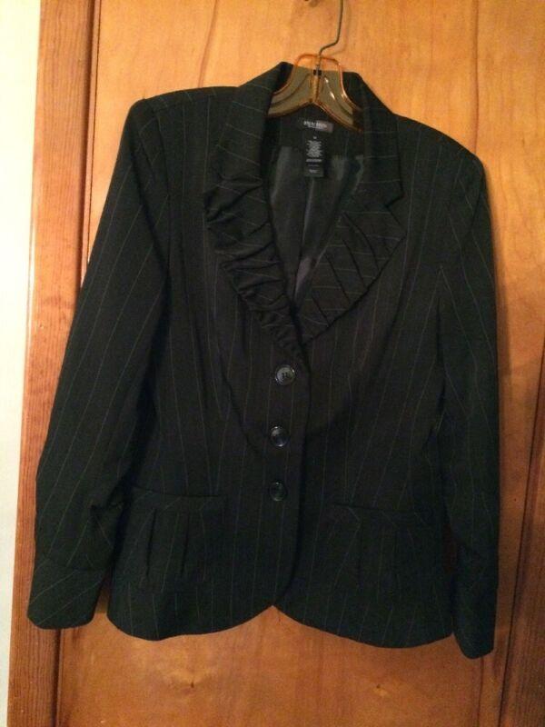 Bisou Bisou Michele Bohbot Blk White Stripe Jacket Size 12 NWT