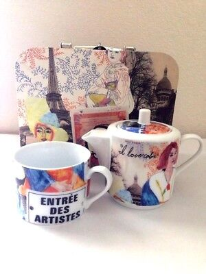 Tea Set For One Stacking Teapot and Cup Portrait of Young Artist Paris Theme