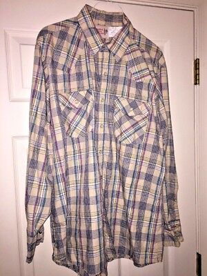 Saddle King Western Mens Plaid Snap Button Long Sleeve Shirt Size 16.5 Reg 34 for sale  Lynchburg