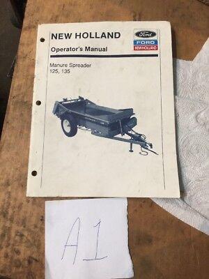 New Holland 125 135 Manure Delivery Spreader Operators Manual Original Oem