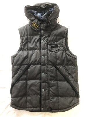 Superdry British Design Men Hooded Brown Vest Gilet Waxed 95% New & Pre-Owned