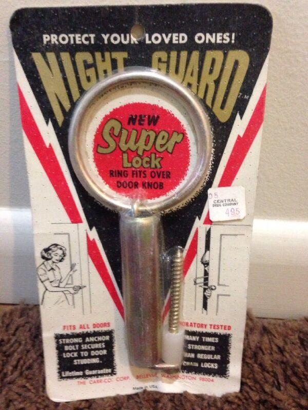 Vintage Night Guard Super Lock NOS Display Security Hardware New Sealed on Card