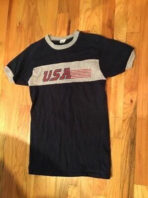 Vintage 70's Boys Champion Ringer Tee Shirt USA Made in USA 32