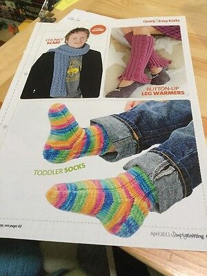 Easy Sock Knitting Patterns - Quick, Easy Chunky Scarf, Button-up Leg Warmers, Toddler Sock Knitting Patterns
