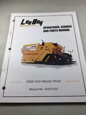 Leeboy 5000 Path Master Paver Operation Service Parts Manual Book