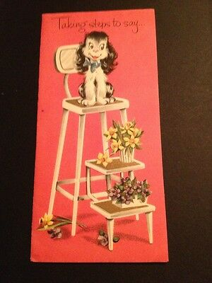 Vtg 1950s Birthday Greeting Card Embossed Puppy Dog Chair Flowers Used USA