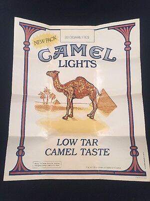 VINTAGE 1981 CAMEL CIGARETTES POSTER-NEW PACK-LOW TAR CAMEL TASTE-LITHOGRAPH-USA